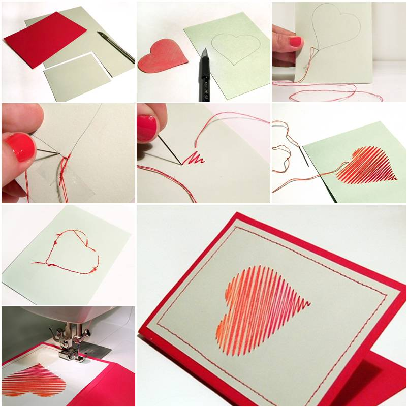 How to make Sew Heart Card step by step DIY instructions thumb – How ...